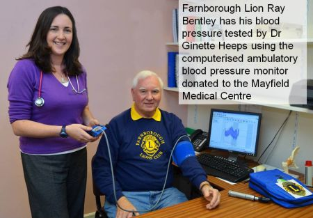 Ray Bentley is first to test the anbulatory blood pressure monitor with Dr Ginette Heeps