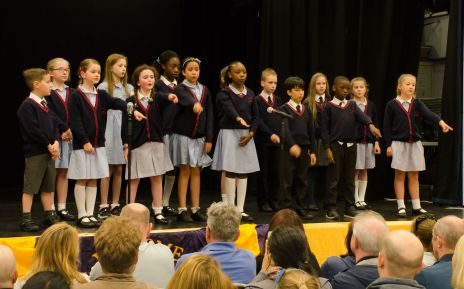 The winners St Bernadette's School show their song with sign language