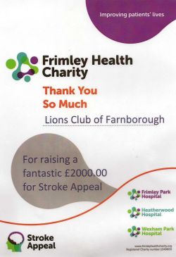 Frimley Park Hospital Certificate of Thanks