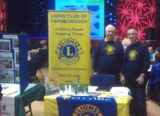 Farnborough Lions Message in a Bottle Stand at the Cancer Health and Wellbeing Day