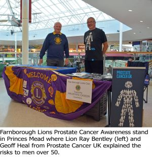 Farnborough Lions Prostate Cancer Awareness Satnd in Princes Mead during the Classic Motor Motor Vehicle Show