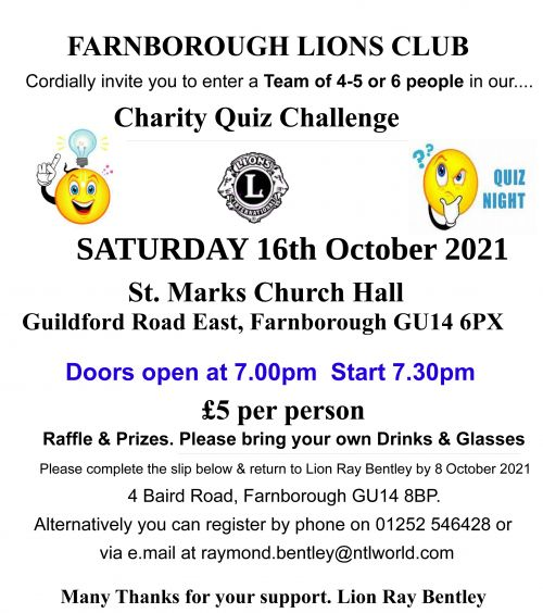 Farnborough Lions October 2021 Quiz Night