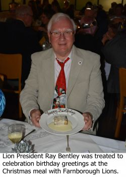 Lion President Ray Bentley celebrated his birthday at the Gallery Restuarant Christmas meal
