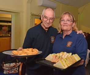 Farnborough Lions serving the buffet