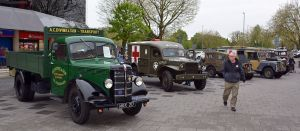 Vintage goods and military vehicles line the southern entrance to Queensmead as part of the Farnborough Classic Motor Vehicle Show