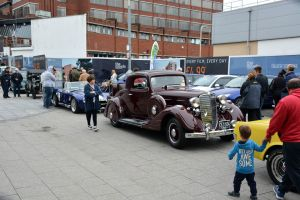 Magnificent motor vehicles line the length of Queensmead during the Farnborough Classic Motor Vehicle Show