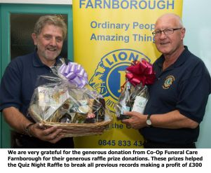 We are very grateful for the excellent prize donations from Co-Op Funneral Care Farnborough which helped make this a record breaking raffle profit of £300