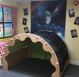 The Den adorned with star lights for the Space theme