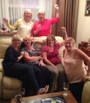 The victorious wives of Farnborough Lions celebrate their narrow victory at the 2016 Trivial Pursuits Evening
