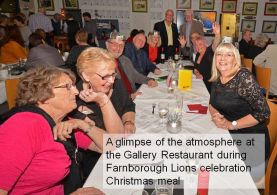 A glimpse of the atmosphere in the Gallery Restaurant during tyhe Lions Xmas celebration meal
